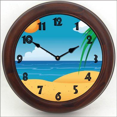 Beach 3 Clock brn frm