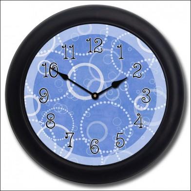 Blue Circles Clock blk frm
