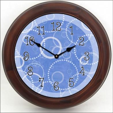 Blue Circles Clock brn frm