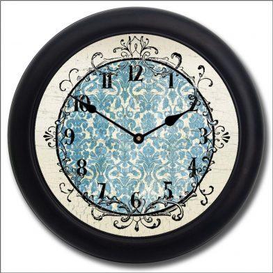 Blue Damask Clock blk frm