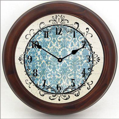 Blue Damask Clock brn frm