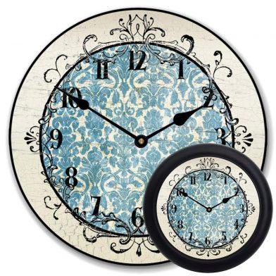 Blue Damask Clock mix