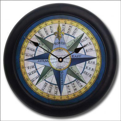 Compass Clock blk frm