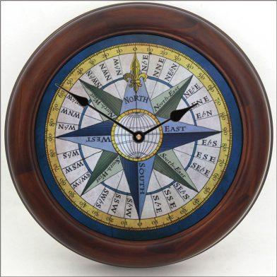 Compass Clock brn frm