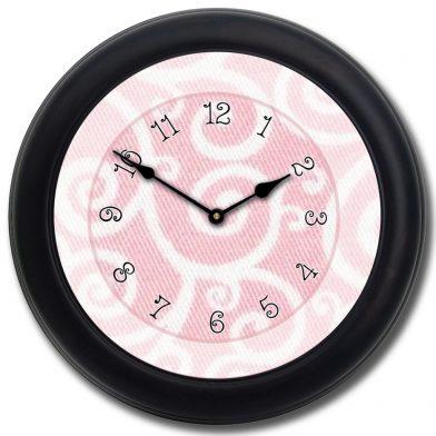 Light Pink Swirl Clock blk frm