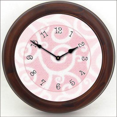 Light Pink Swirl Clock brn frm