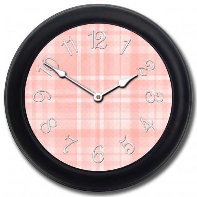 Pink Plaid Clock blk frm