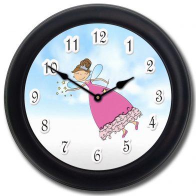 Pink Princess Wand Clock blk frm