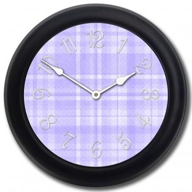 Purple Plaid Clock blk frm