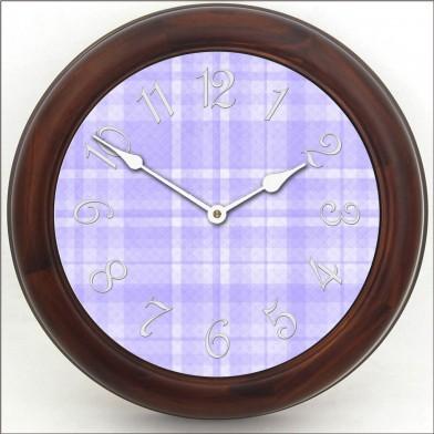 Purple Plaid Clock brn frm
