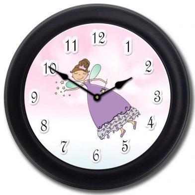 Purple Princess Wand Clock blk frm