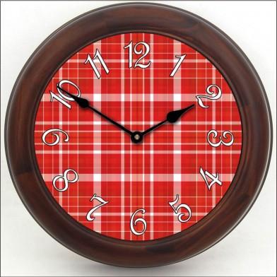 Red Plaid Clock brn frm