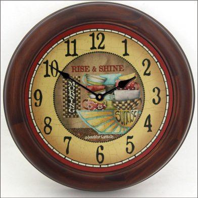 Rise & Shine Clock brn frm
