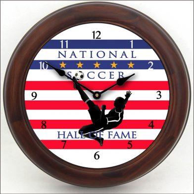Soccer Hall of Fame 2 Clock brn frm