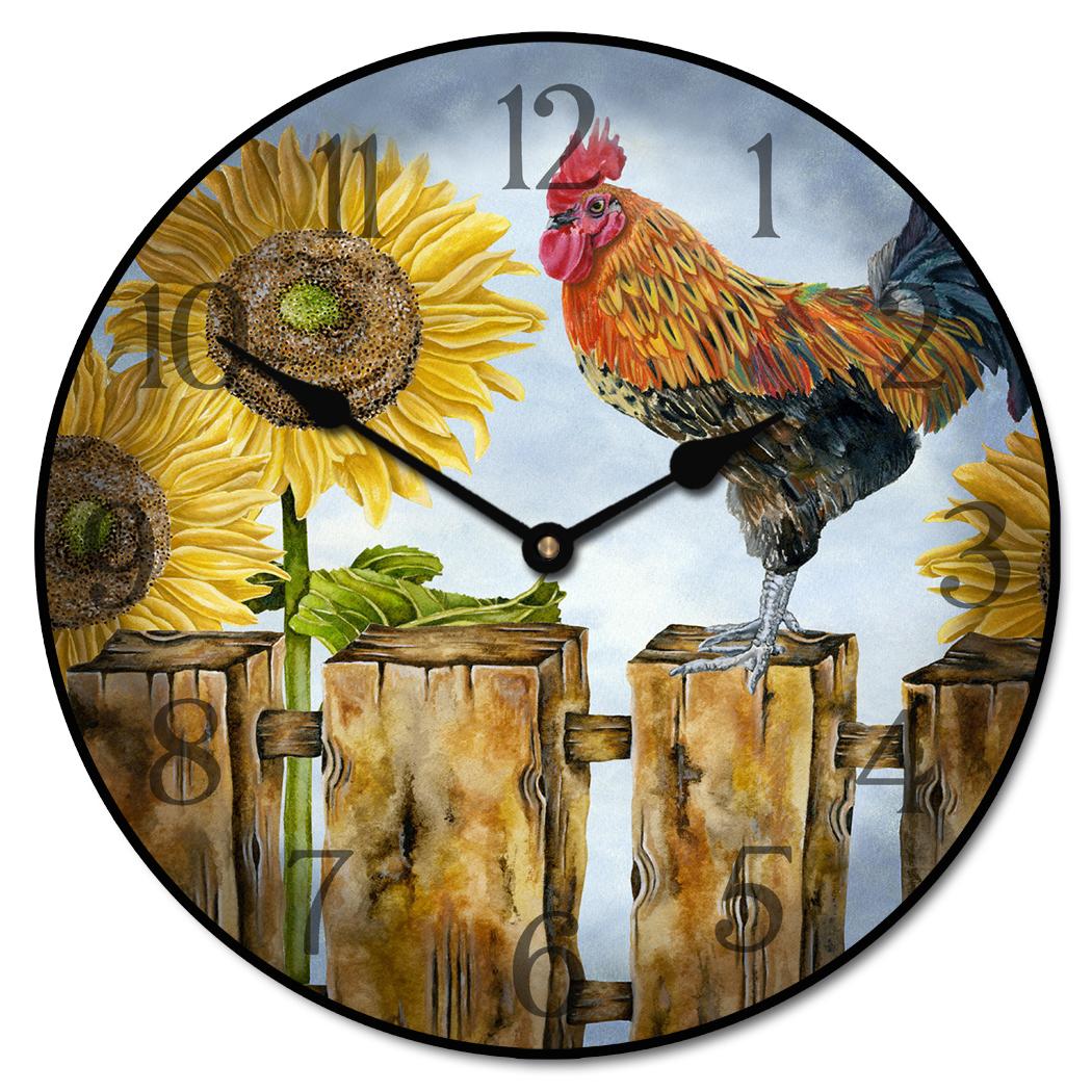 ... Sunflower Rooster Clock ...