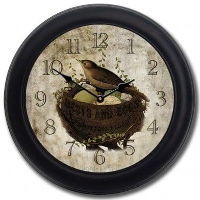 Nest & Eggs Clock blk frm