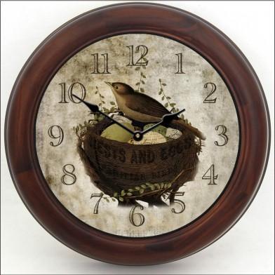 Nest & Eggs Clock brn frm