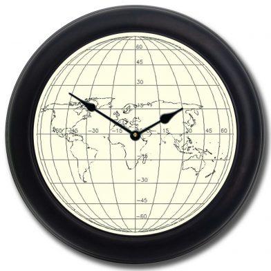 Streamline Map Clock blk frm