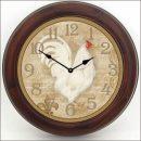White French Hen Clock brn frm