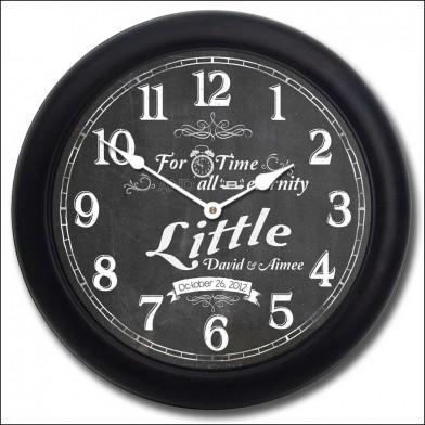 Chalkboard Wedding Clock blk frm