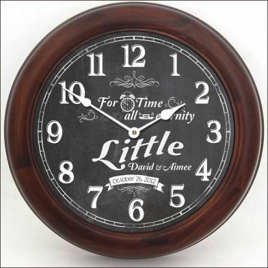 Chalkboard Wedding Clock brn frm