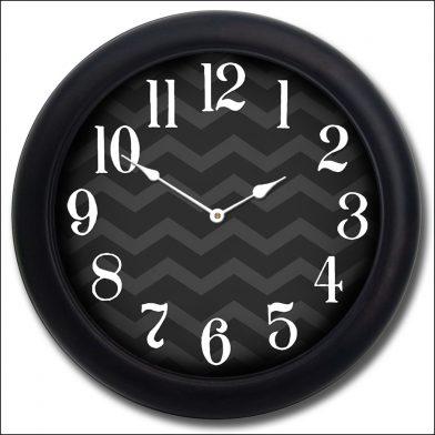 Chevron Black Clock blk frm