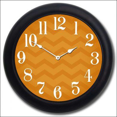 Chevron Orange Clock blk frm