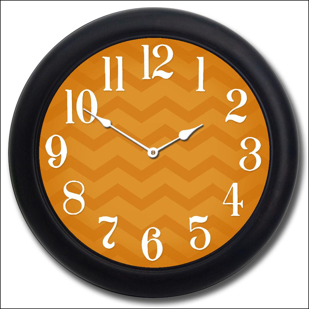 Chevron Orange Clock The Big Clock Store