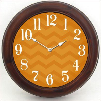 Chevron Orange Clock brn frm
