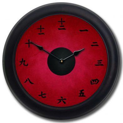 Kanji Clock Red blk frm