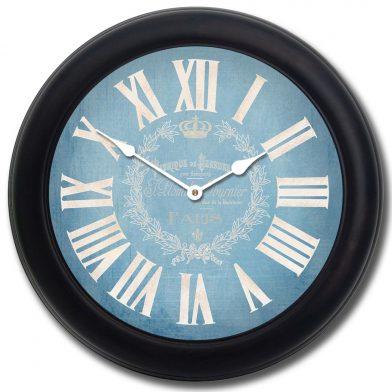 Linen Blue Clock blk frm