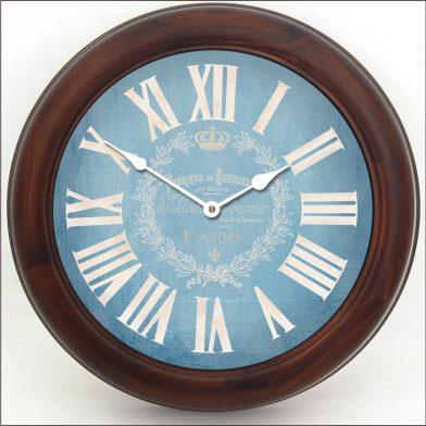 Linen Blue Clock brn frm