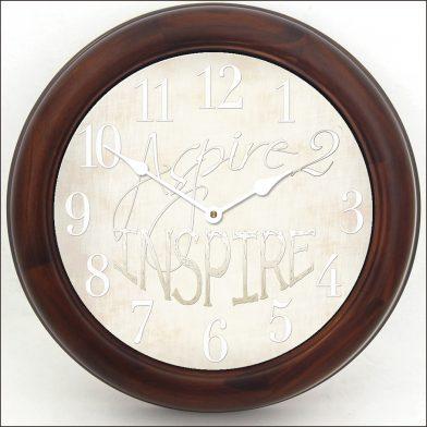 Aspire 2 Inspire White Clock brn frm