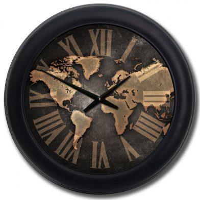 Industrial Map Clock blk frm