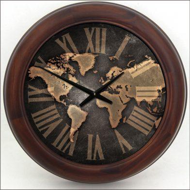 Industrial Map Clock brn frm