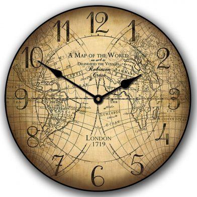 Robinson Cruso World Map Clock