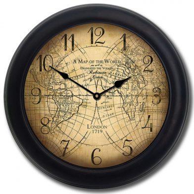 Robinson Cruso World Map Clock blk frm