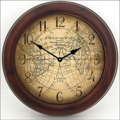 Robinson Cruso World Map Clock brn frm