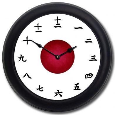 Kanji Clock White blk frm