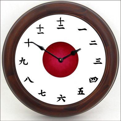 Kanji Clock White brn frm