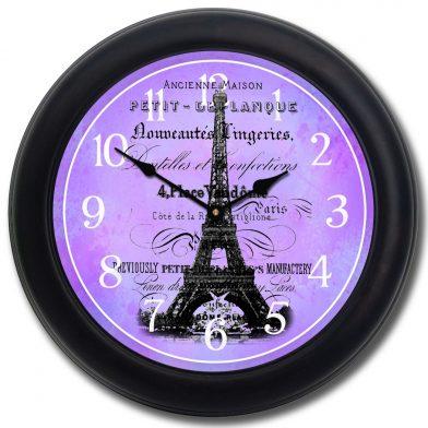 Paris Love Clock blk frm