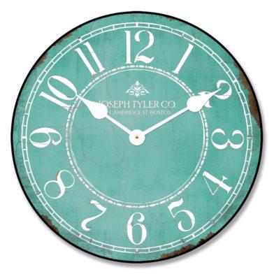 Aqua & White Clock