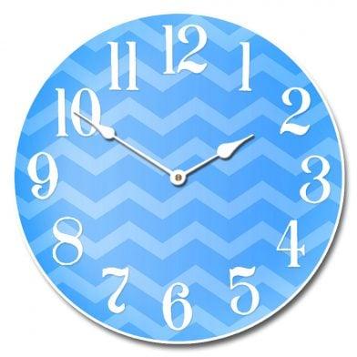 Chevron Blue Clock