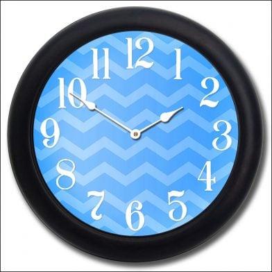 Chevron Blue Clock blk frm