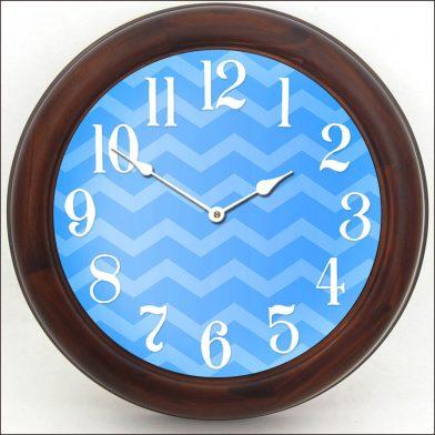 Chevron Blue Clock brn frm
