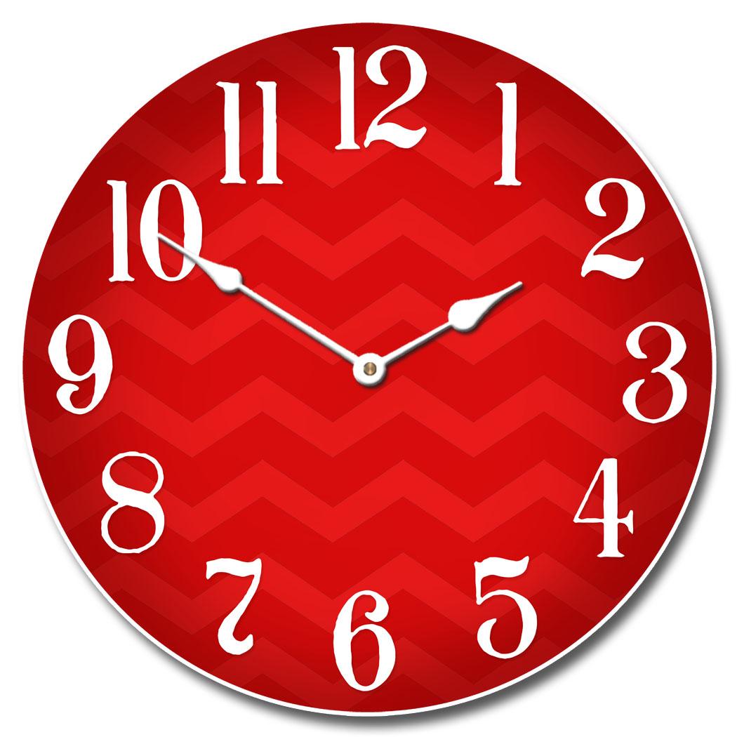 Chevron Red Clock