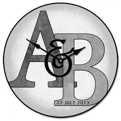 Monogram Clock Gray