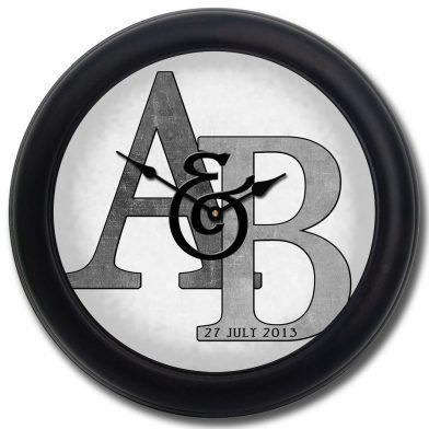Monogram Clock Gray blk frm