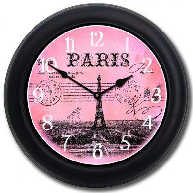 Paris Postcard Pink Clock blk frm