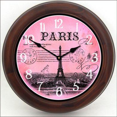 Paris Postcard Pink Clock brn frm